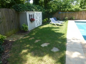 Backyard after our landscaping design