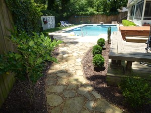 Backyard after our hardscape and landscaping design and installation services